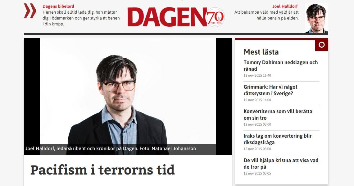 Joel Halldorf, ledarskribent och krönikör på Dagen. Foto: Natanael Johansson
